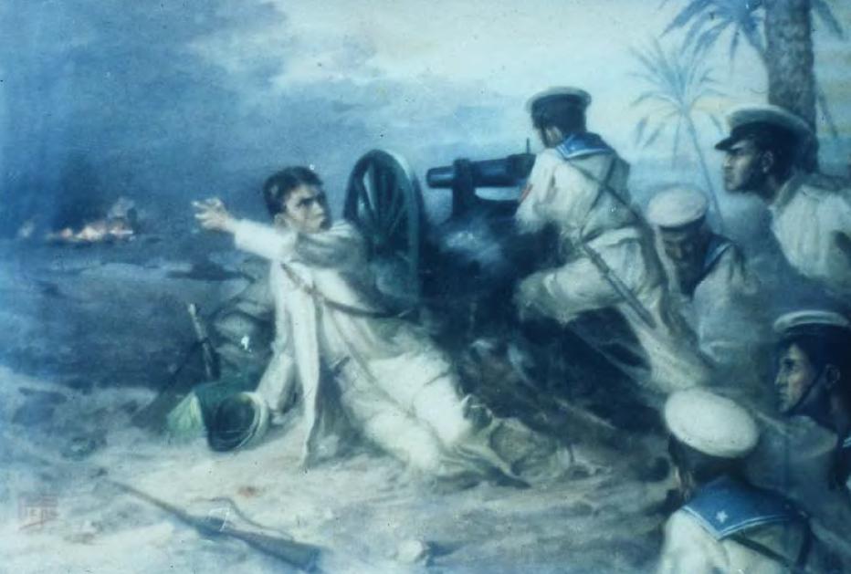 Rappresentazione pittorica di Grazioli colpito a morte durante l'attacco nemico alle postazioni italiane